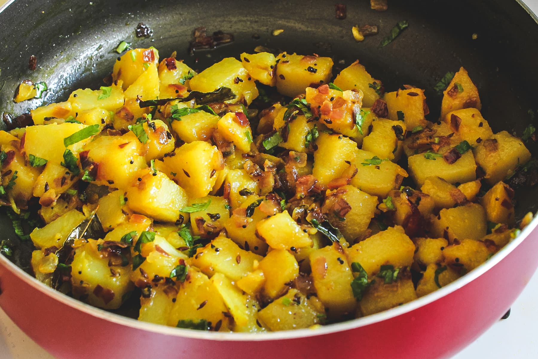 Image of potato bhaji in the pan ready to serve.