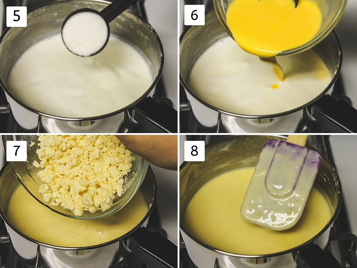 collage of steps of adding sugar, custard mixture, khoya and simmering