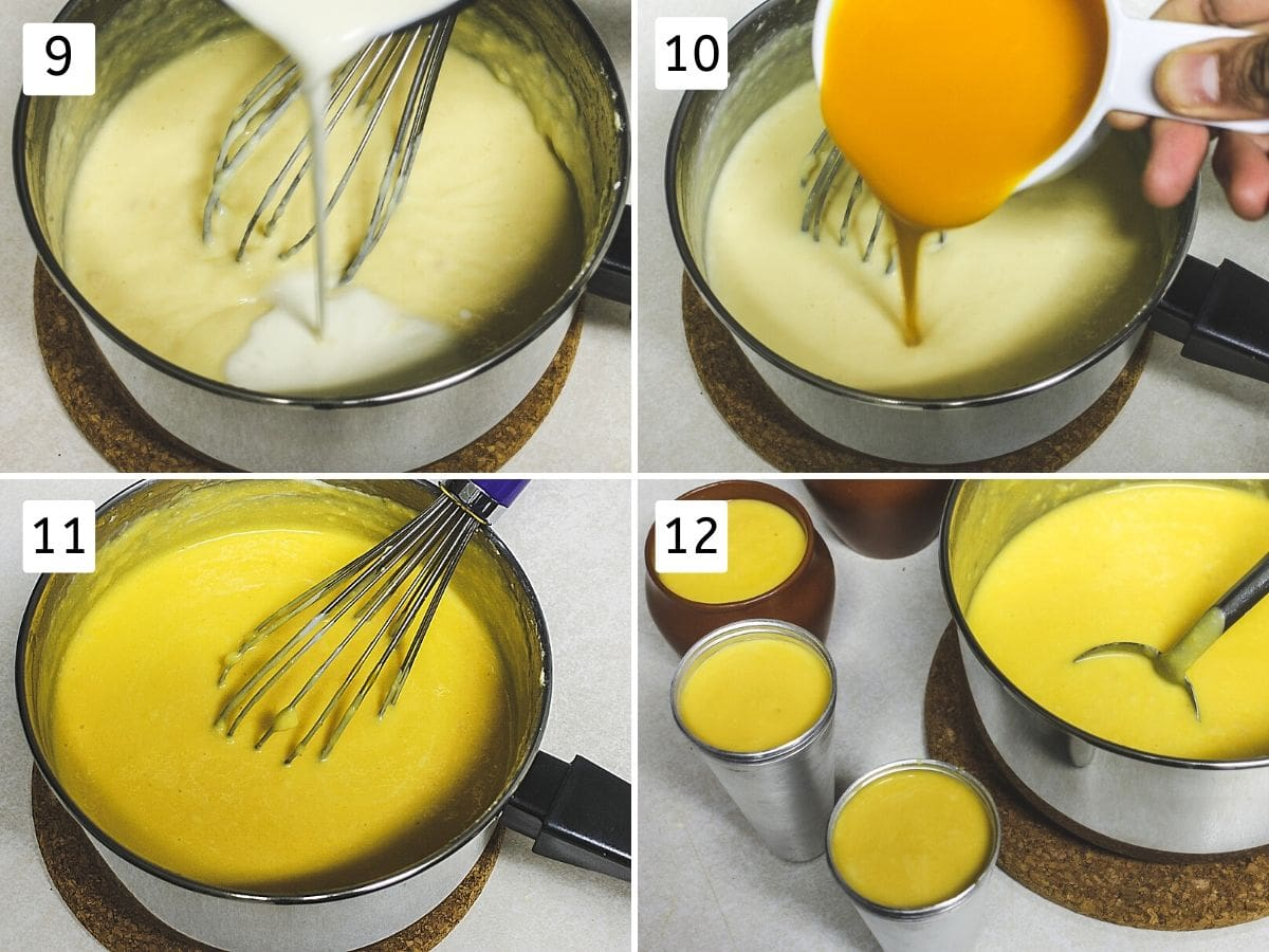 collage of steps of adding cream, mango pulp and pouring into molds