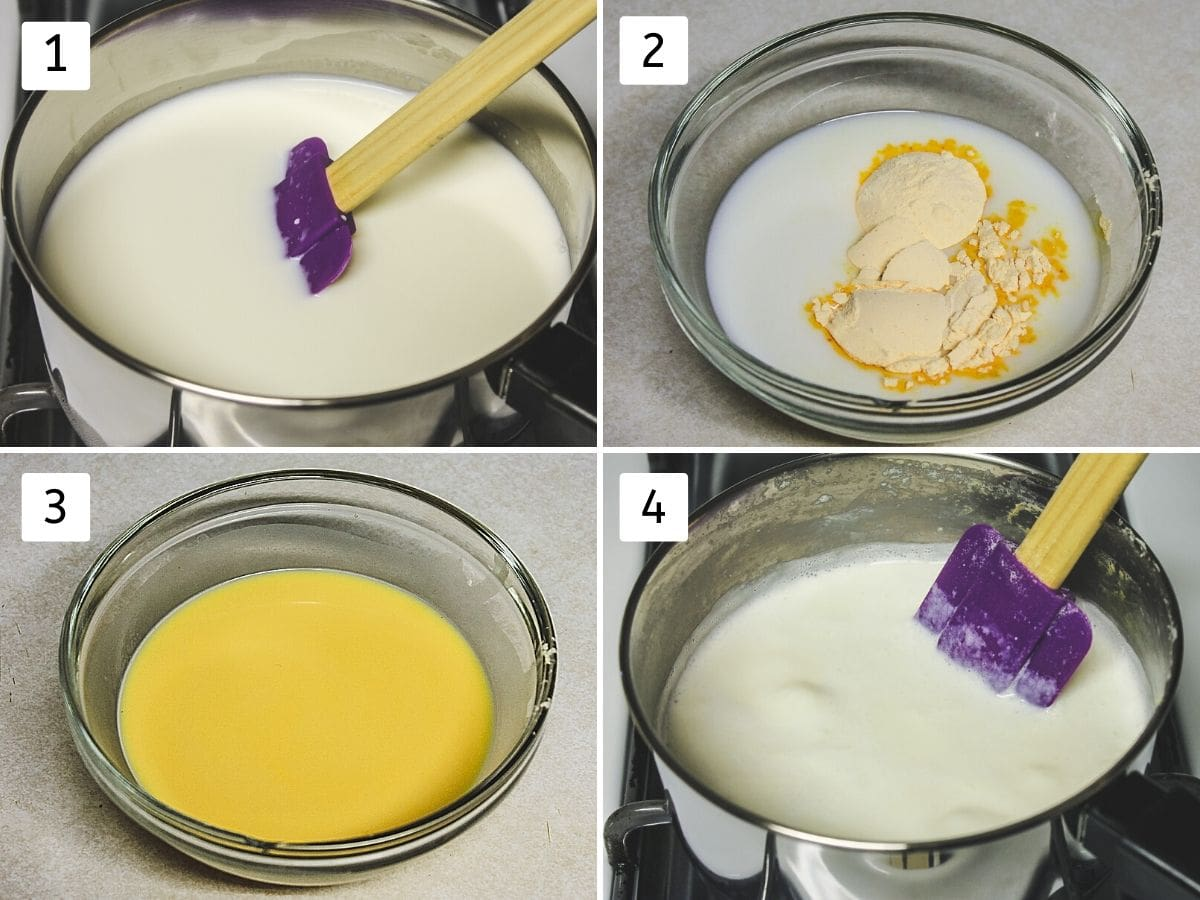 collage of steps of making custard mixture and simmering milk