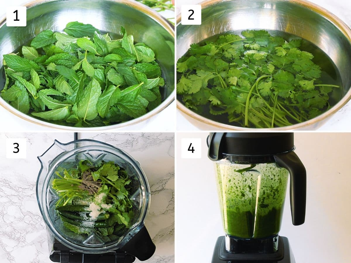 collage of washing mint leaves and cilantro, dumping all into blender jar and grinding