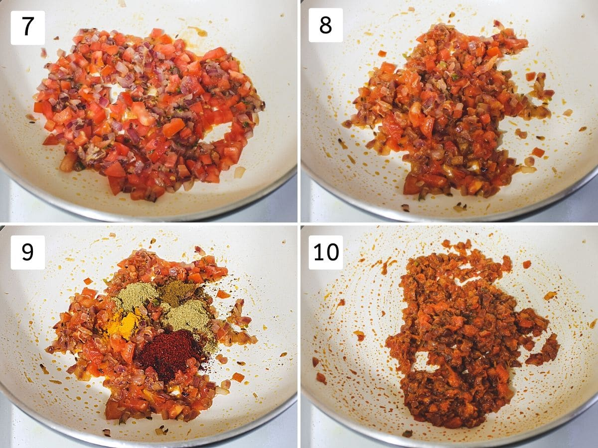 collage of cooking tomatoes and adding, mixing indian spice powders