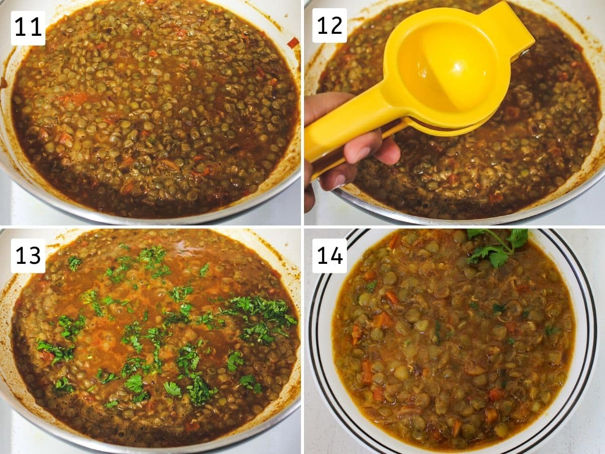 Collage of adding boiled lentils, lemon juice, cilantro and cooked masoor dal served in a bowl