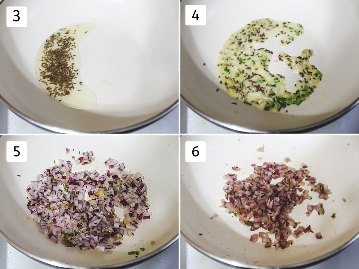 Collage of sizzling cumin seeds, cooking ginger, garlic, green chili and sauteing onions