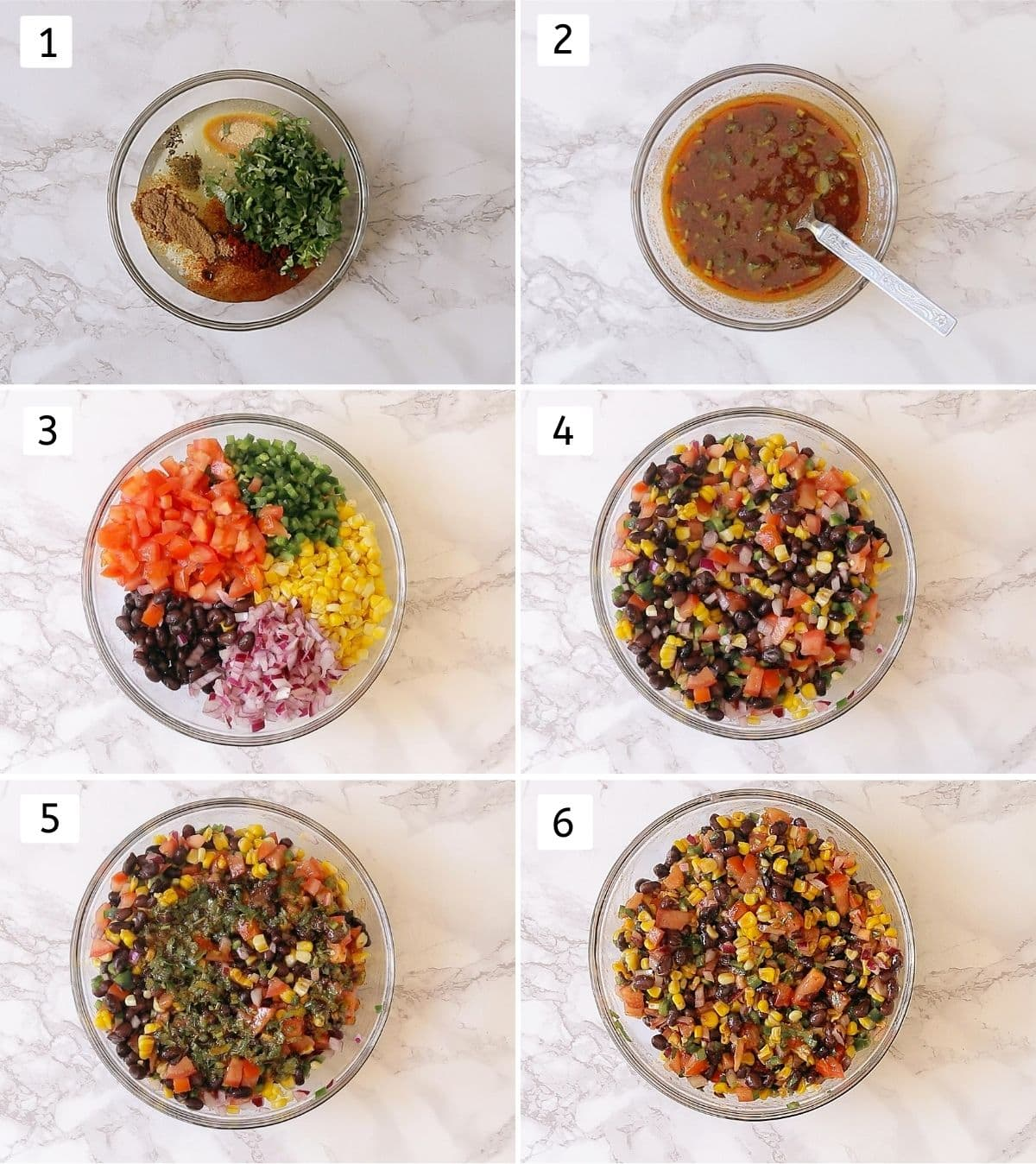 Collage of 6 steps of making black bean corn salsa. Showing adding, mixing of oil, lime juice & spices, adding, mixing of salsa ingredients, adding dressing and mixing salsa.