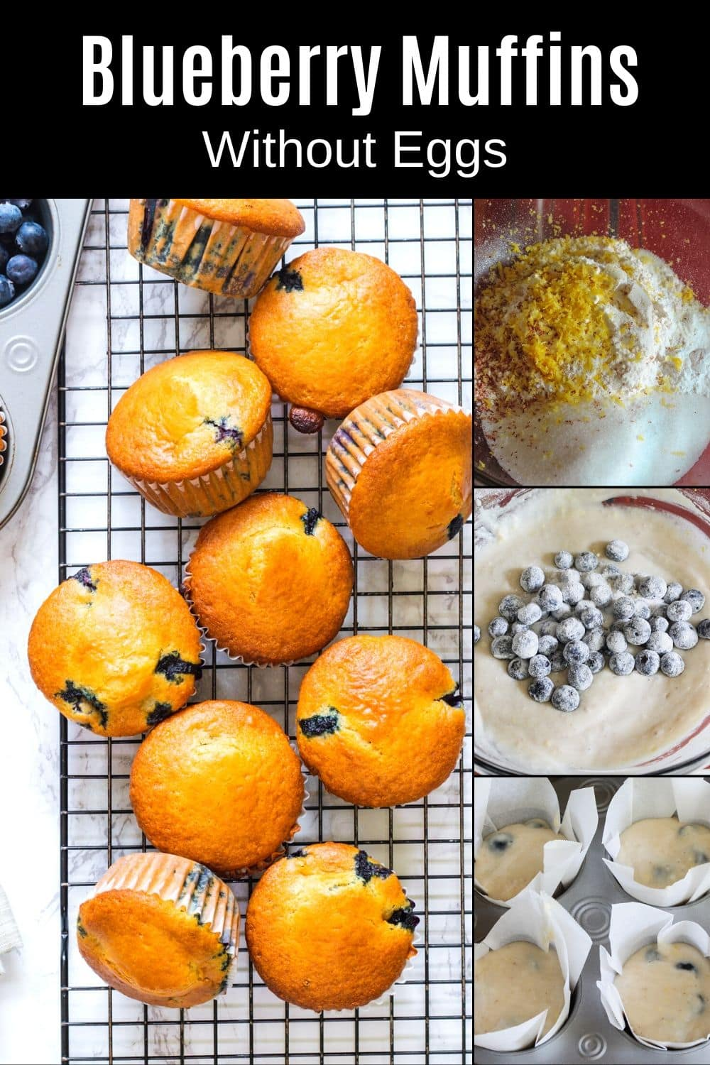 Blueberry muffins made without eggs Pin