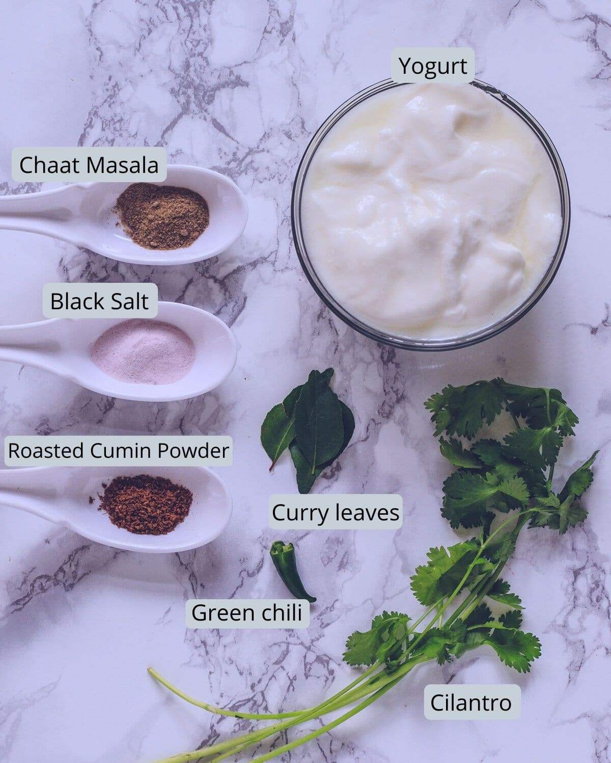 masala chaas ingredients on marble background