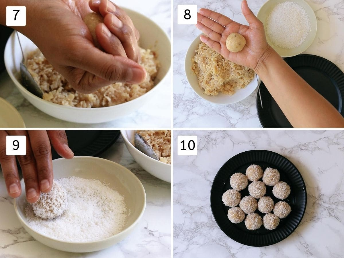 collage of shaping coconut ladoo. Showing shaping tight ball using fist, rolling into dry coconut and arranged on the plate.