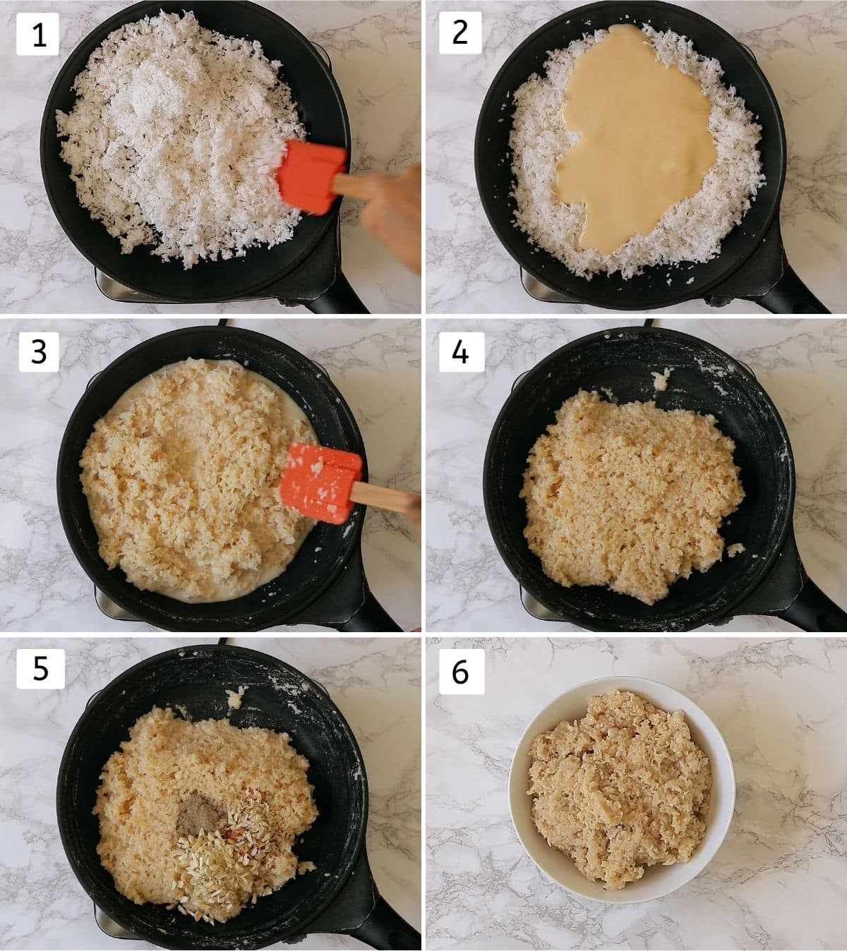 collage of making coconut ladoo mixture. Includes roasting coconut, adding condensed milk, cooking, adding nuts, removing to a bowl.
