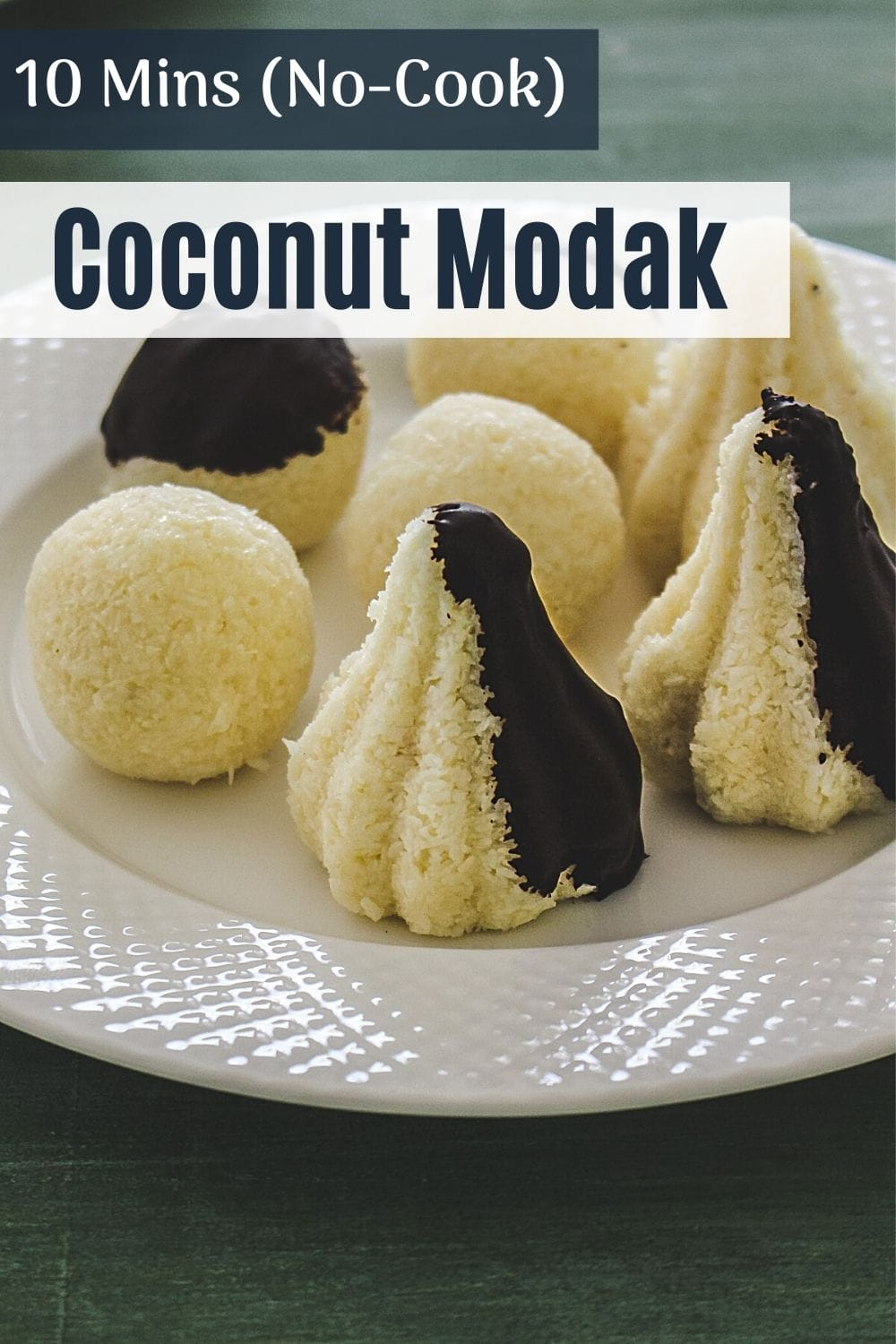Chocolate covered coconut modak and ladoo in a plate with text on top for pinterest