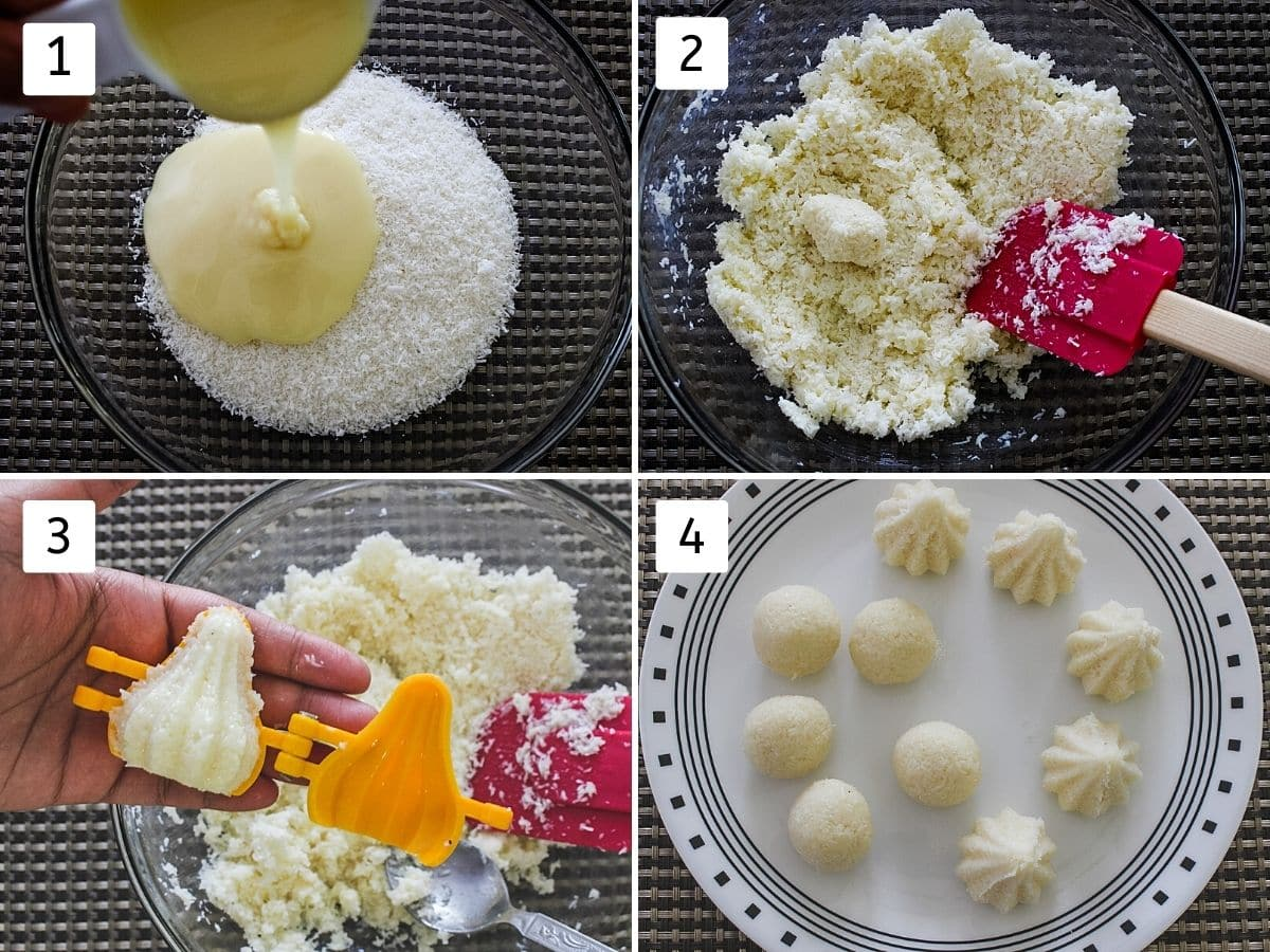 Collage of 4 steps. Includes mixing coconut and condensed milk, shaping into modak, ladoo