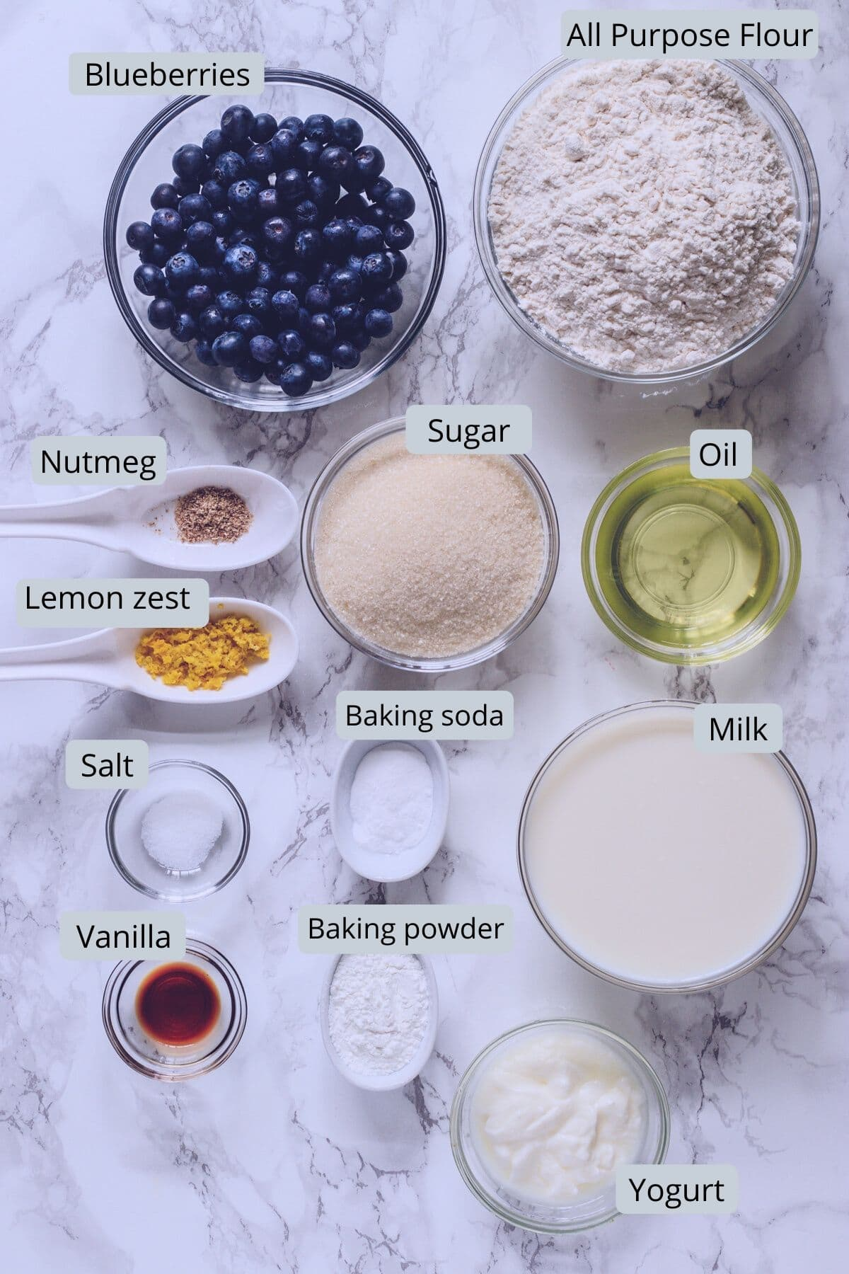 Eggless blueberry muffins ingredients into individual bowls