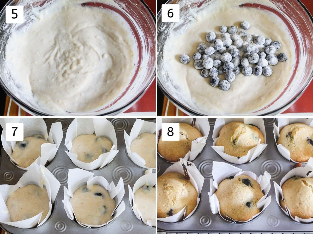 collage of steps of making muffin batter, pouring into muffin pan and baked muffins