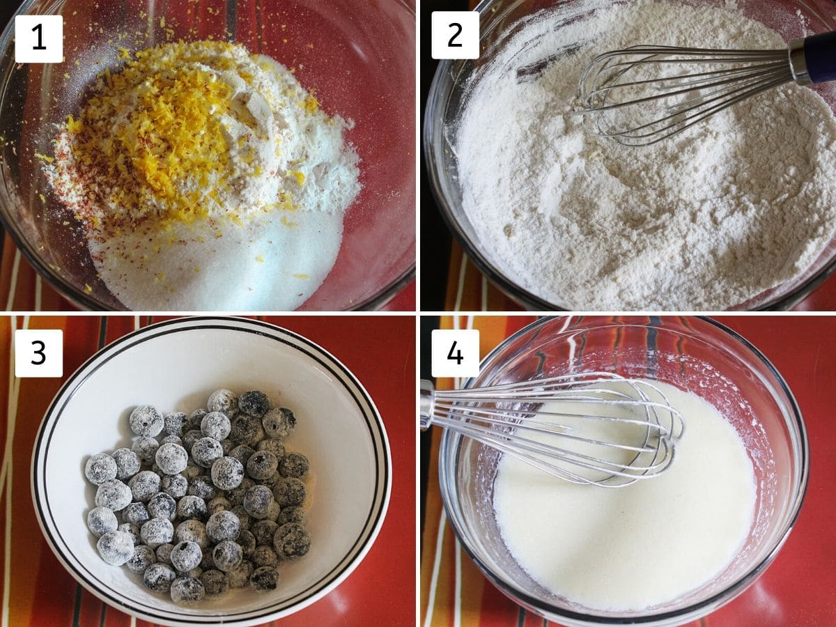 Collage of steps of mixing dry ingredients, coating berries with flour and mixing wet ingredients