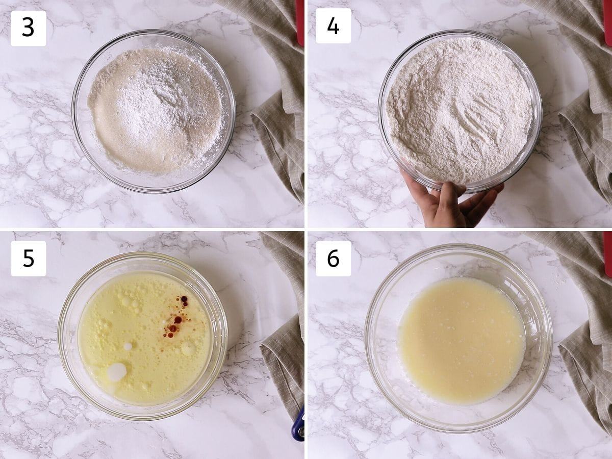 collage of 4 steps making muffin batter. Showing mixing dry ingredients and mixing wet ingredients.