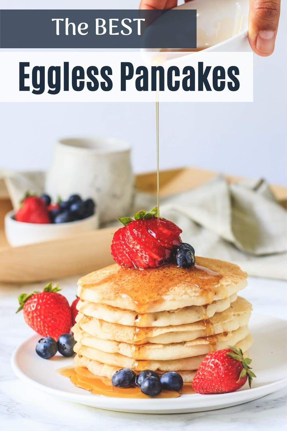 Eggless pancakes pin