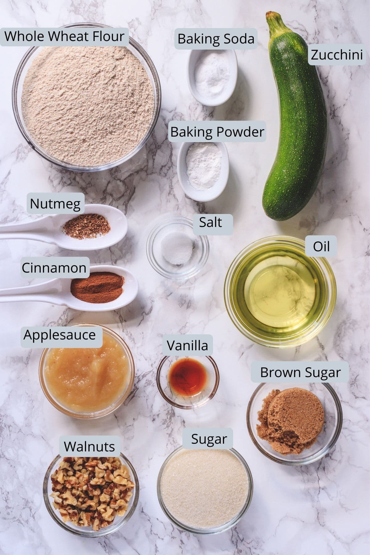 eggless zucchini bread ingredients in individual bowls