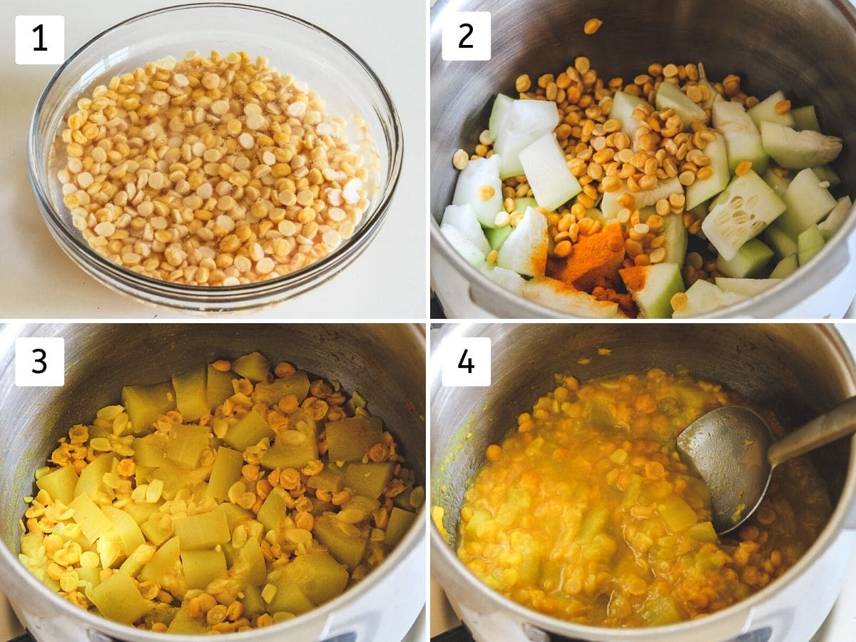collage of soaking chana dal, adding in pressure cooker and cooking
