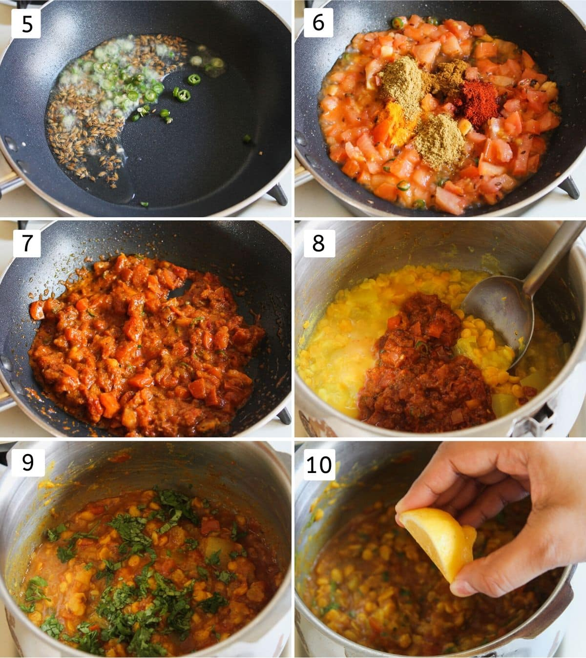 collage of sauteing cumin, chilies, adding, cooking tomatoes with spices, mixing with cooked dal, garnish with cilnatro and lemon