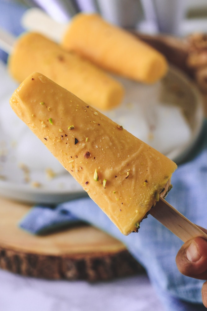 Close up if mango kulfi