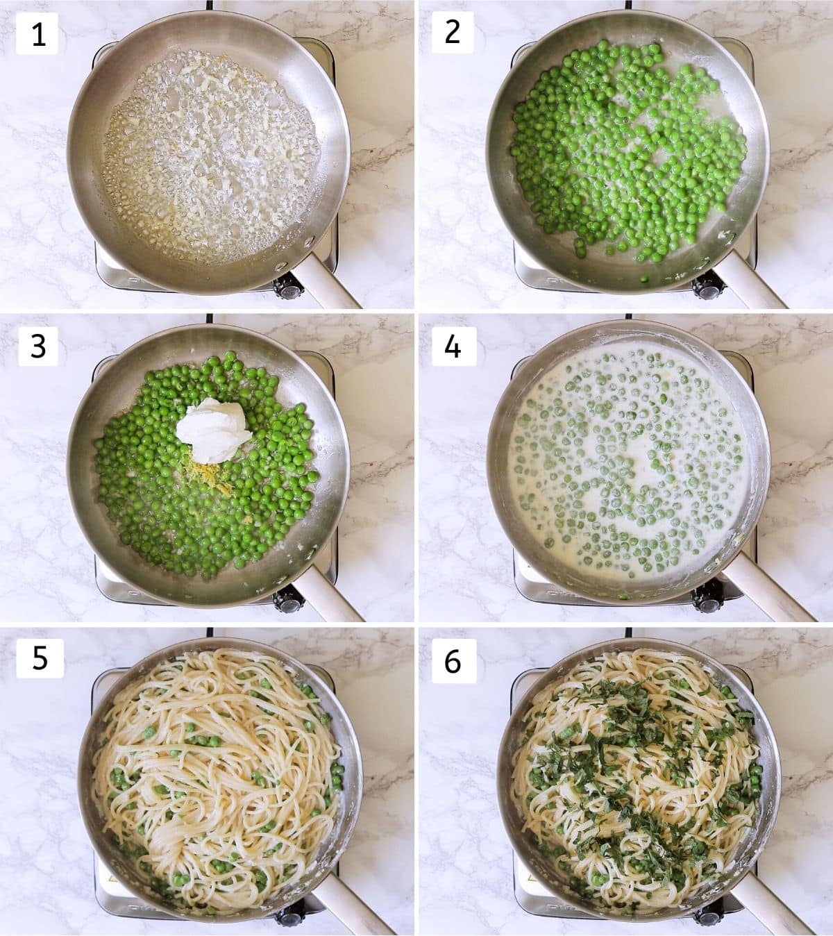 steps of making pasta with peas and ricotta