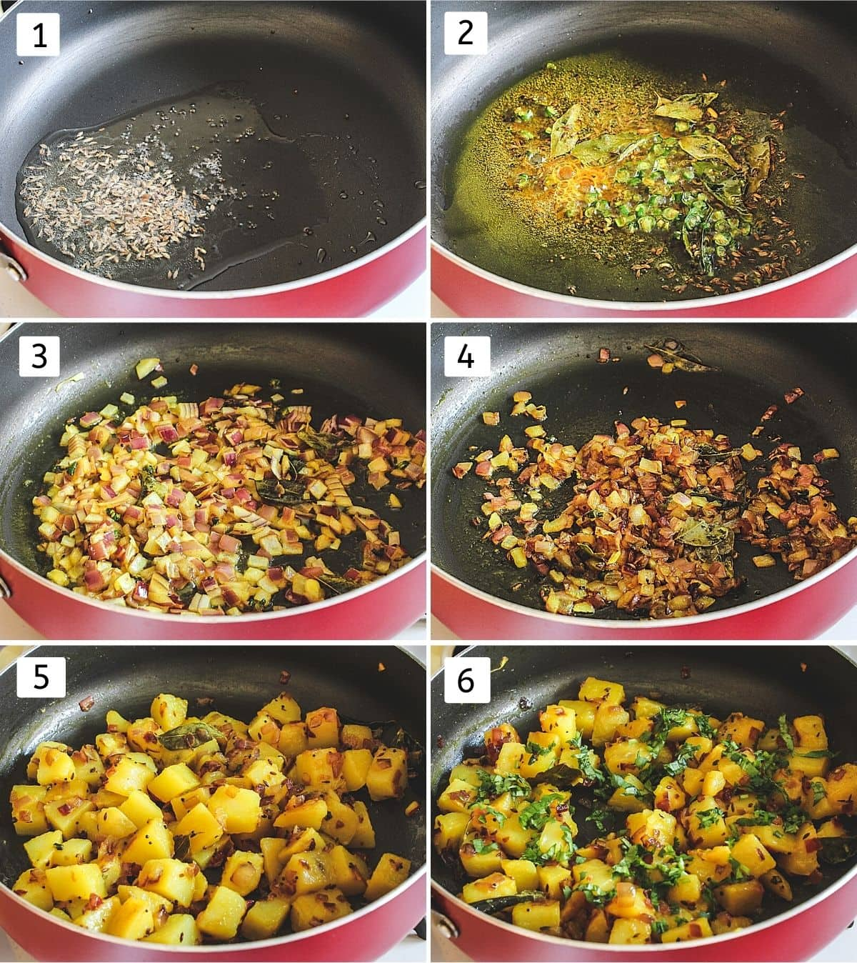 collage of 6 steps of making potato bhaji. Showing sauteing spices, curry leaves, onion, mixing potatoes and cilantro.