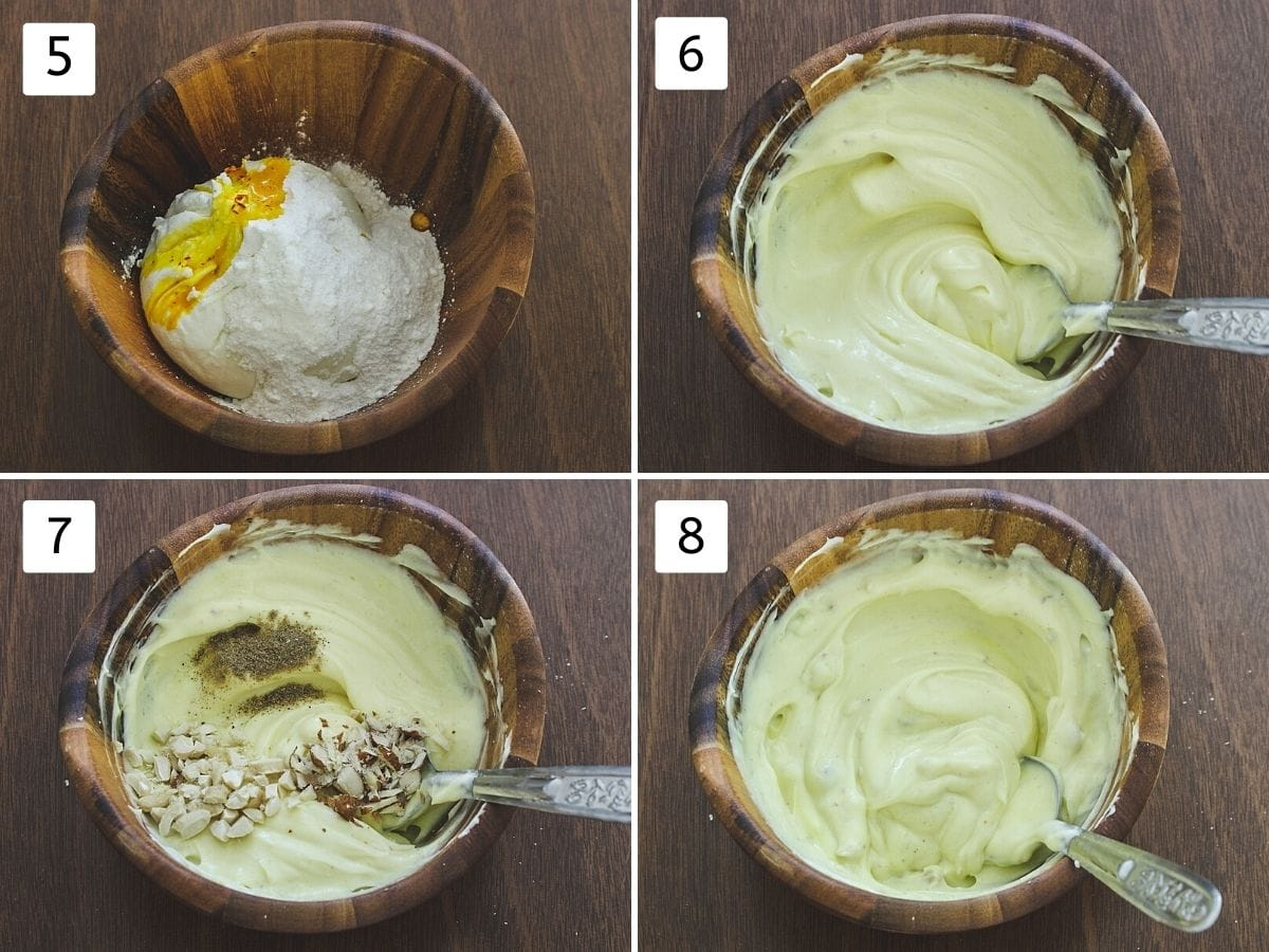 collage of making traditional shrikhand. Includes hung curd, sugar, saffron milk in a bowl, mixing, adding cardamom powder, nuts and mixing again.