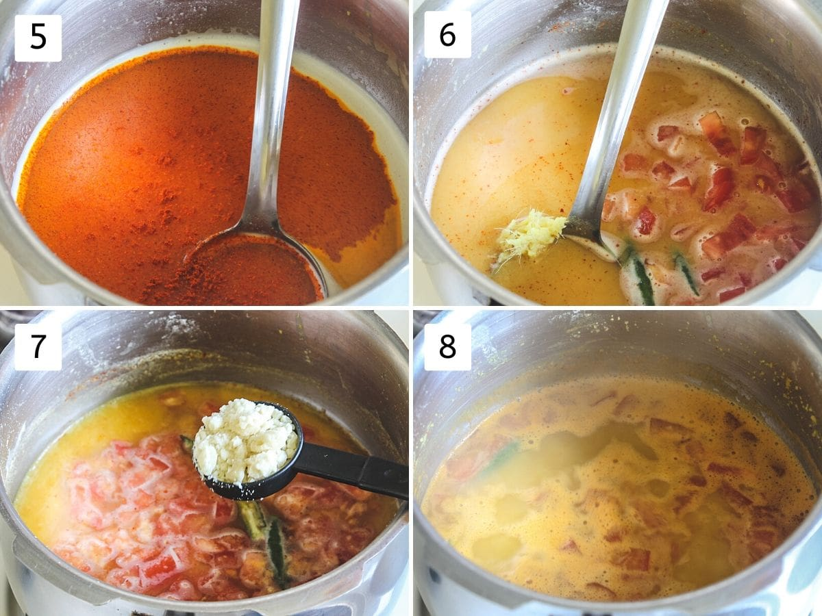 Collage of 4 images showing addition of spices, salt, green chili, ginger, tomato, jaggery and simmering dal
