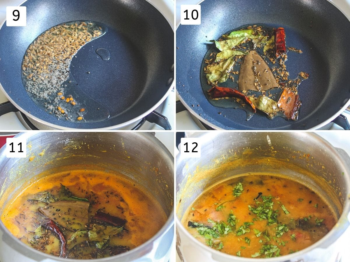collage of 4 images showing tempering is made and added to dal, garnished with cilantro