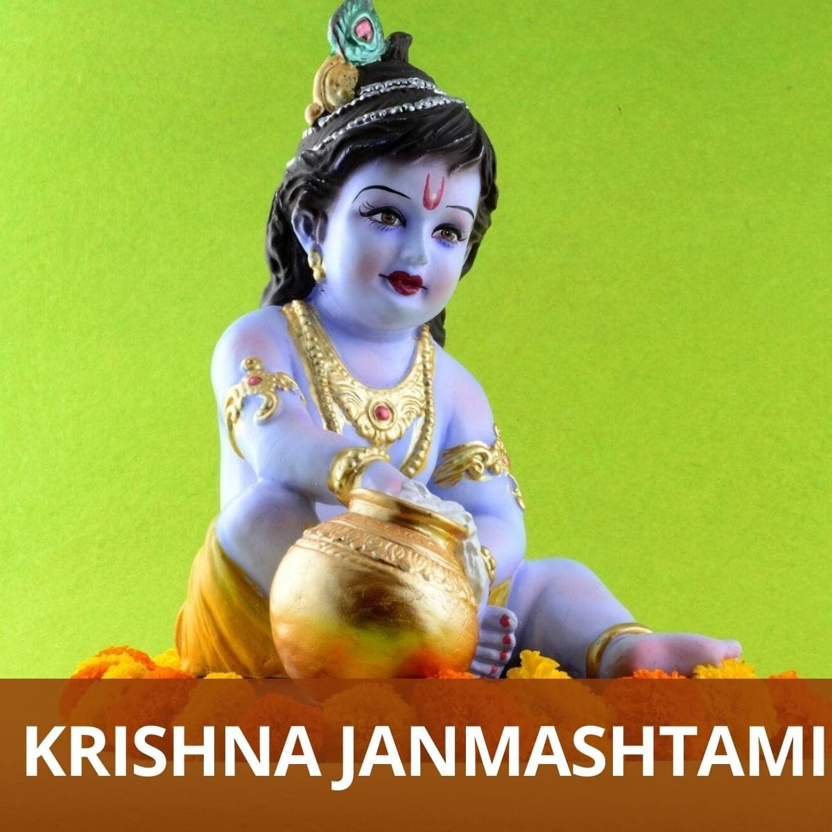Lord krishna idol with text krishna janmashtami at the bottom with maroon background