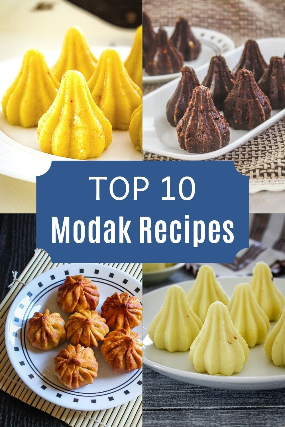 collage of 4 images showing modak peda, chocolate modak, fried modak, malai modak with text in the center