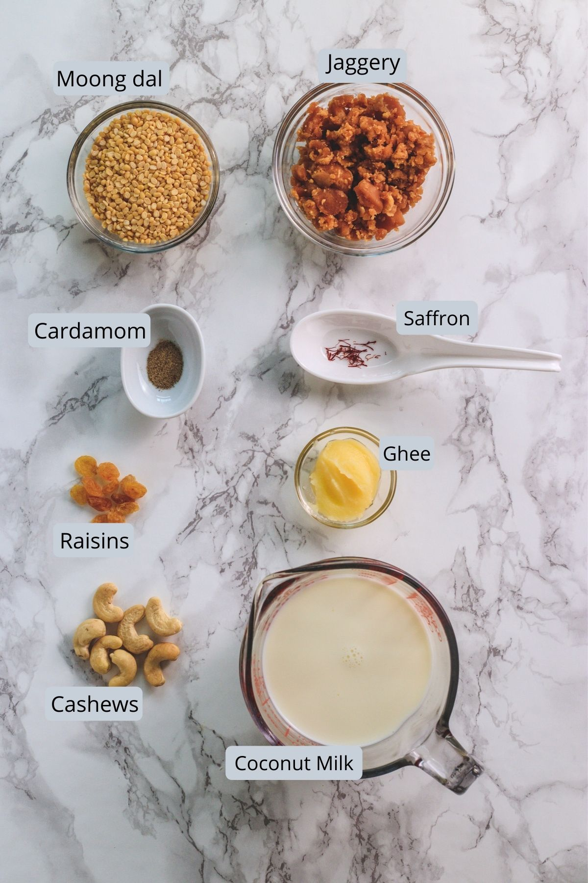 Ingredients used in paruppu payasam includes moong dal, ghee, coconut milk, cashews, raisins, saffron, cardamom