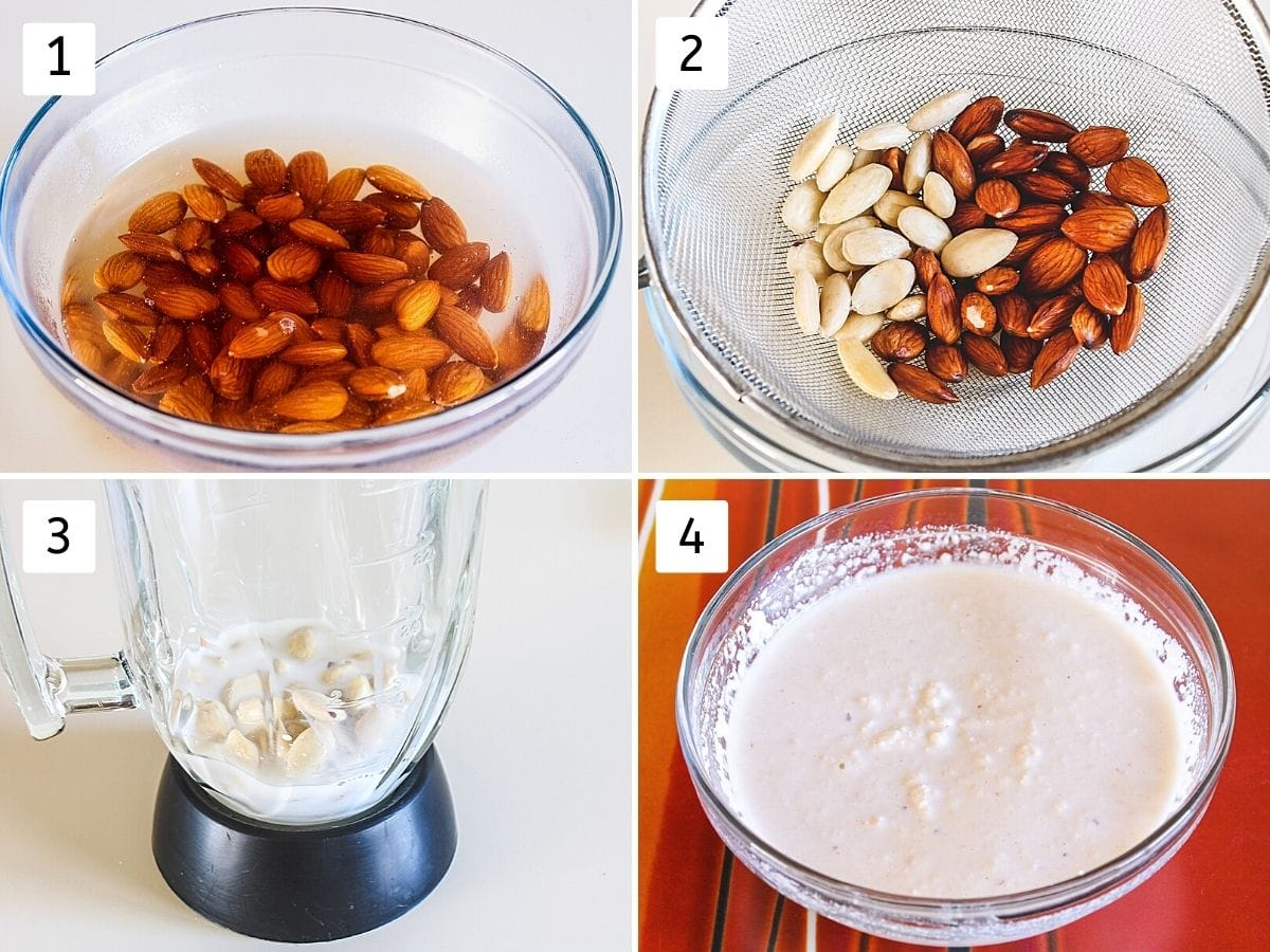 Collage of 4 images showing, blanching almonds, peeling almonds, in the blender with milk, ground paste