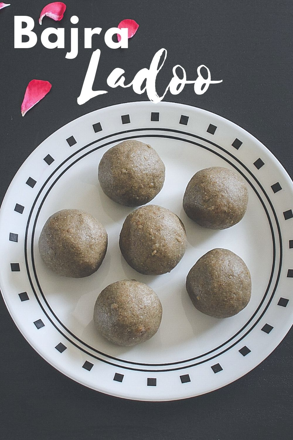 6 bajra ladoo on a plate with text 'bajra ladoo' for pinterest