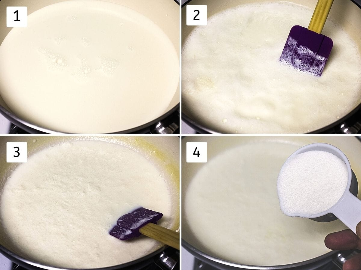 Collage of 4 steps showing milk in a pan, stirring with spatula, cooked till half, adding sugar.