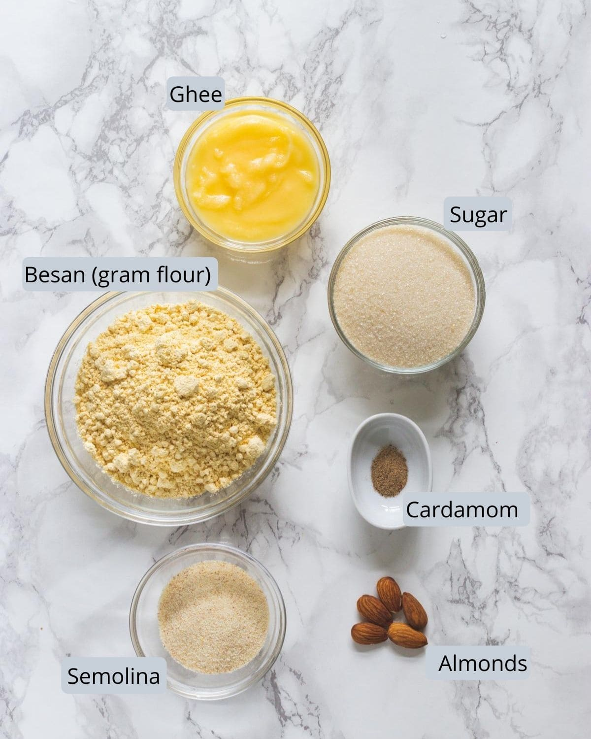 Image of ingredients for besan barfi includes besan, semolina, ghee, sugar, cardamom, almonds