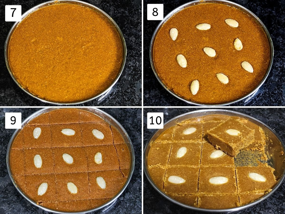 Collage of 4 steps showing barfi mixture in a tray, garnished with almonds, indentation made and set burfi with one piece removed