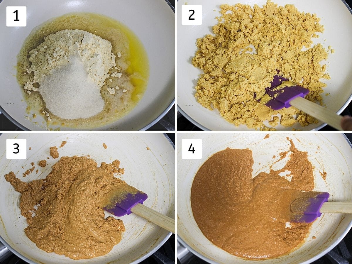 collage of 4 steps showing adding flour to ghee, mixing, roasting with spatula and roasted besan