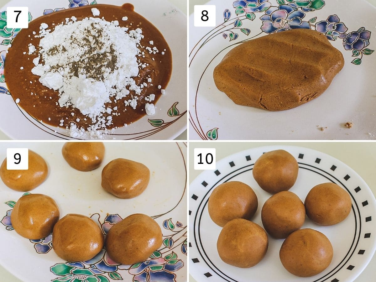 Collage of 4 images showing adding sugar, cardamom to roasted besan, mixing, shaping in ladoo.