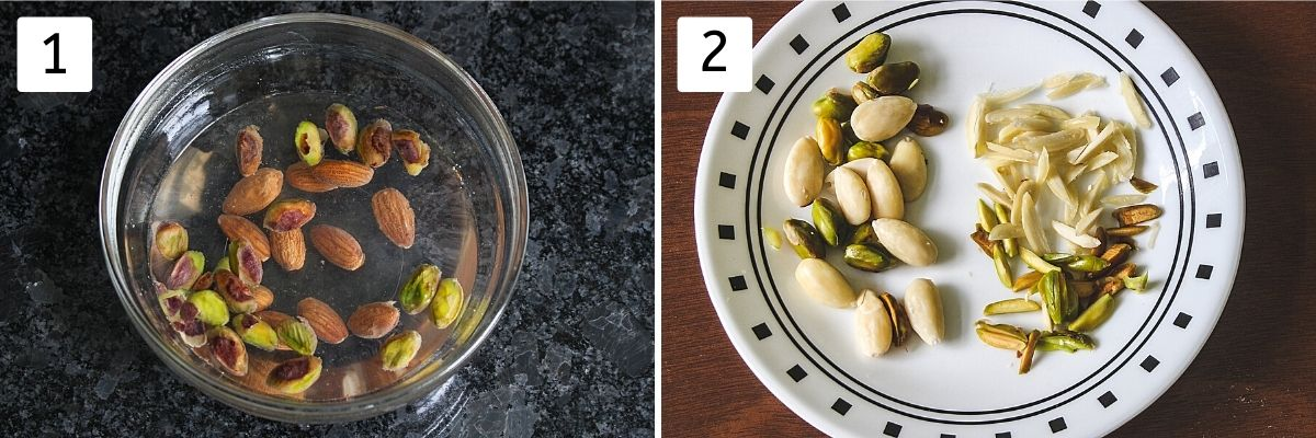 Collage of 2 images showing almonds, pistachios in hot water and peel, sliced nuts in a plate