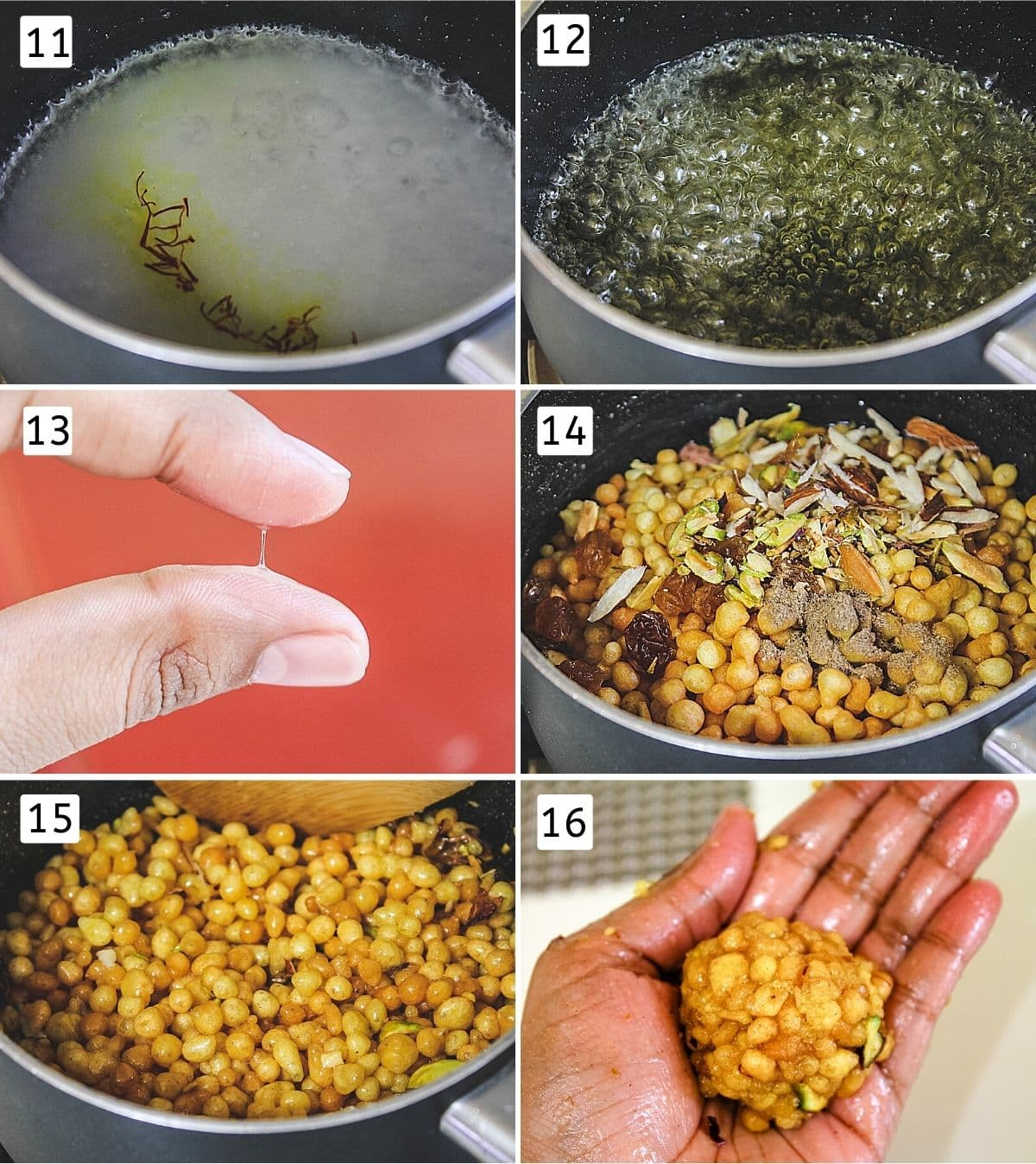 Collage of 6 images showing saffron in sugar syrup, boiling syrups, 1-thread consistency, adding boondi, nuts to syrup, mixing and shaping