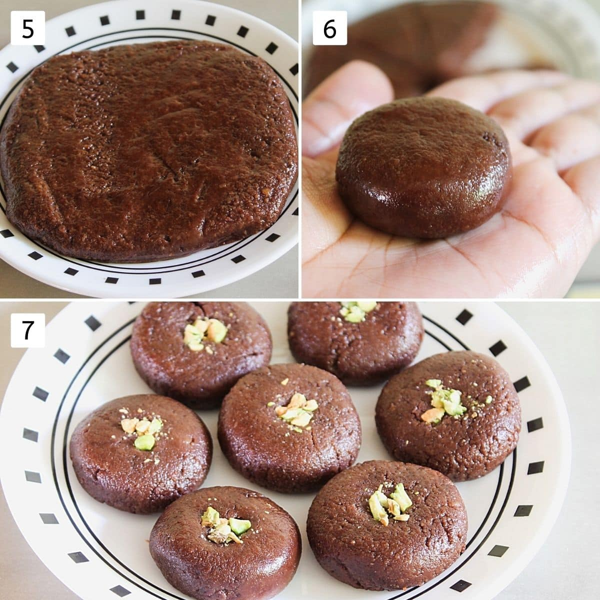 Collage of 3 images showing peda mixture in a plate, shaping peda using palm, 7 shaped chocolate peda on a plate