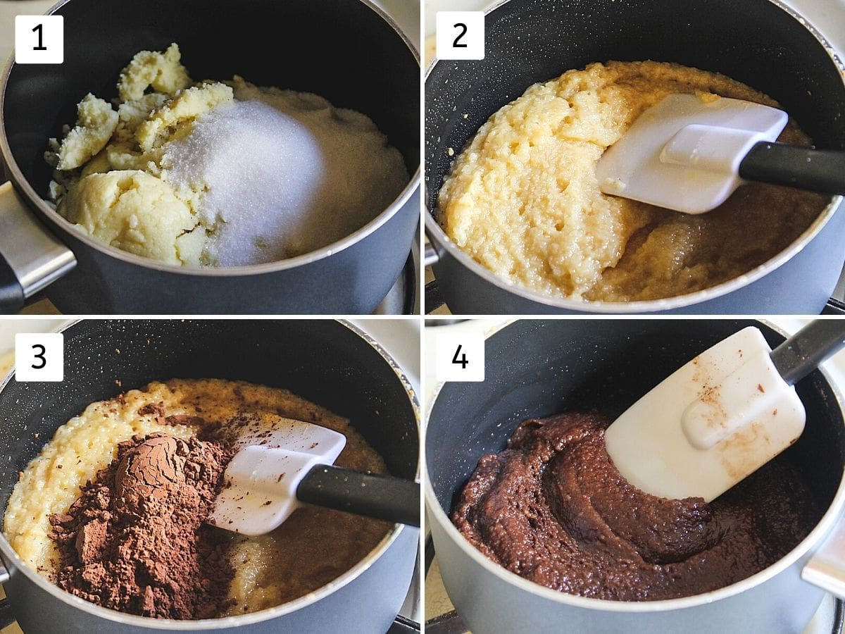 Collage of 4 images showing khoya-sugar in a pan, thick, cooked mixture, added coco powder, peda mixture ready