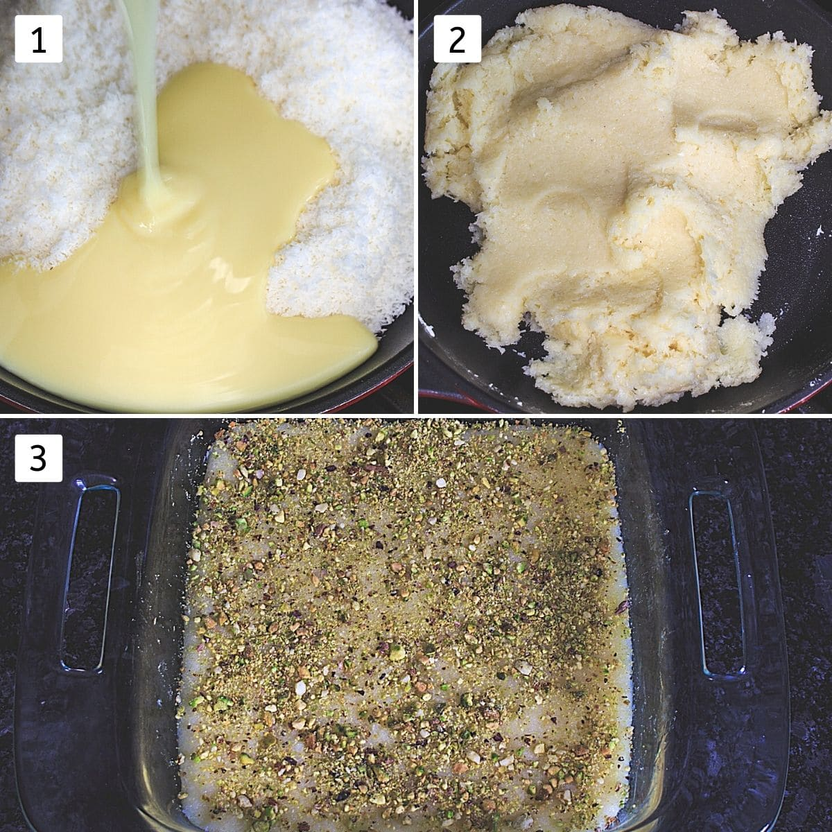 collage of 3 images showing coconut, condensed milk in a pan, cooking mixture, spread in greased pan