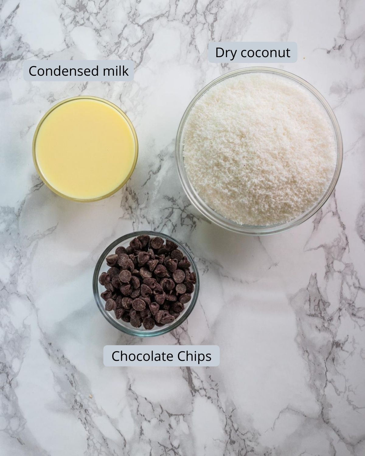 Image of ingredients used in coconut modak. Shows condensed milk, chocolate chips, coconut