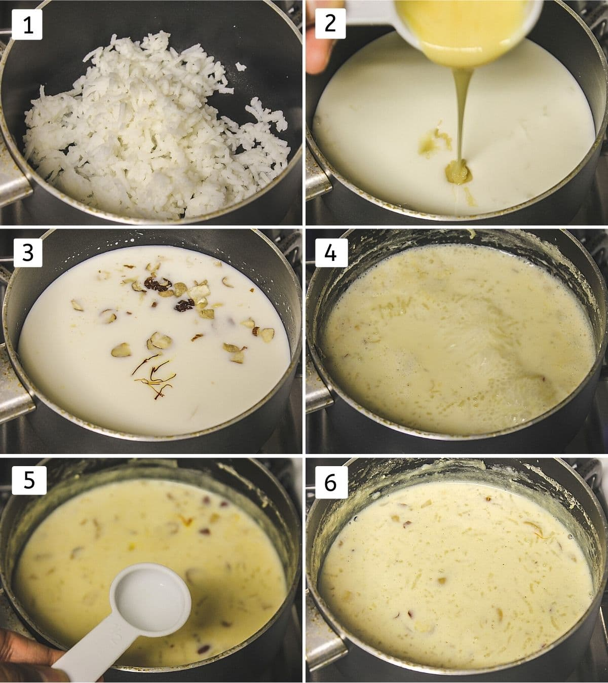 Collage of 6 images showing adding rice, milk, nuts, saffron in a pan, cooking, adding rose water and ready kheer