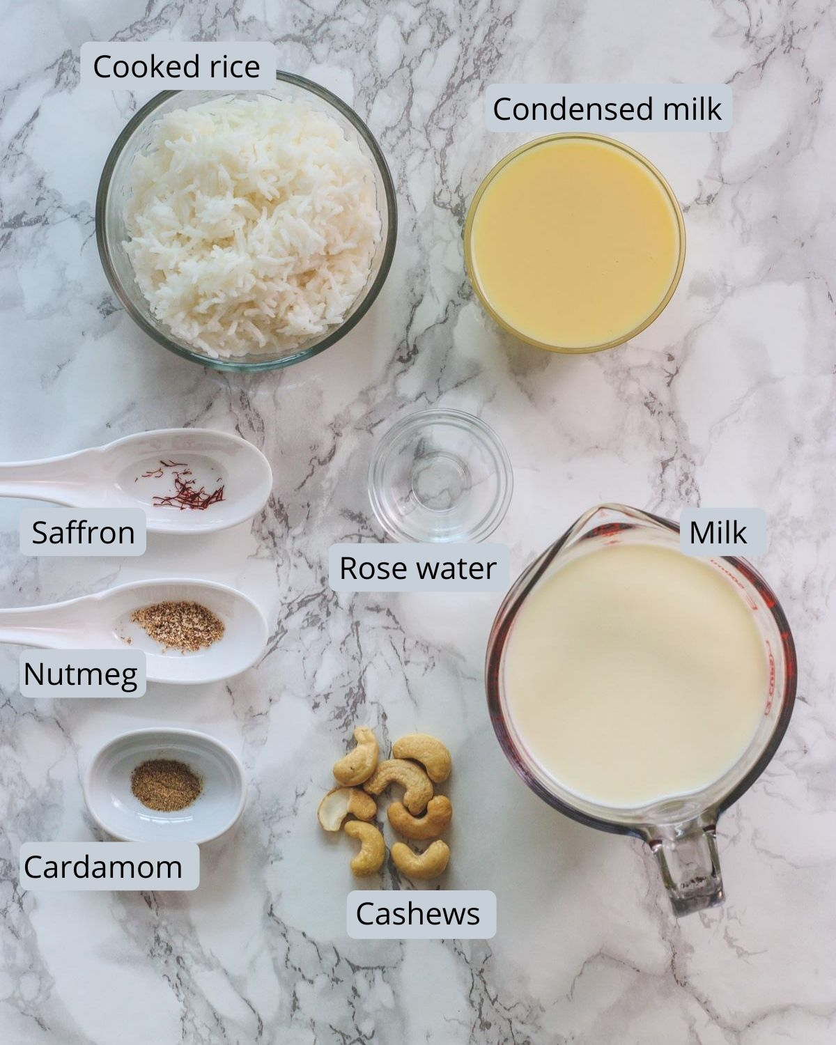 ingredients used in kheer includes cooked rice, condensed milk, milk, cashews, saffron, nutmeg, cardamom, rose water