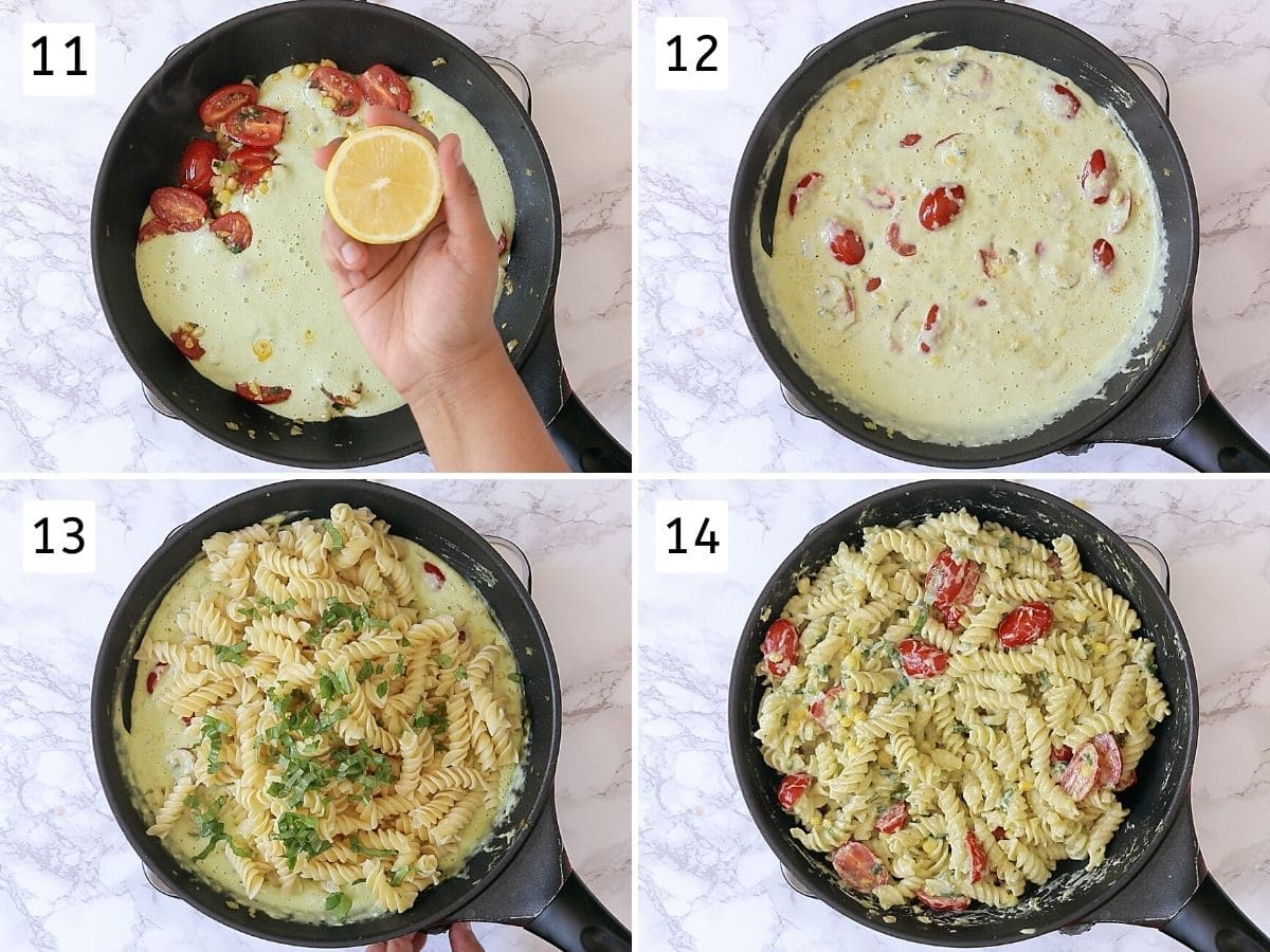 Collage of 4 images showing squeezing lemon into the sauce, simmering sauce, adding pasta, basil and tossing