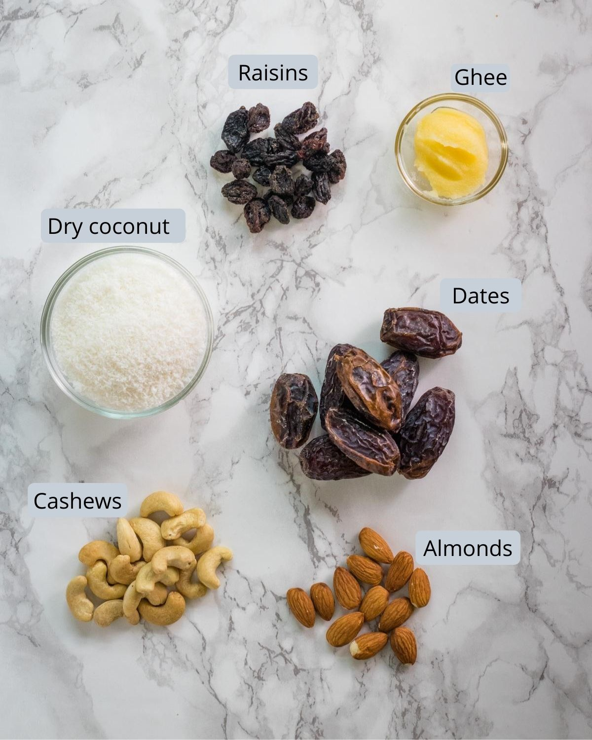 image of ingredients used in dry fruits modak. Shows dates, almonds, cashews, raisins, coconut and ghee