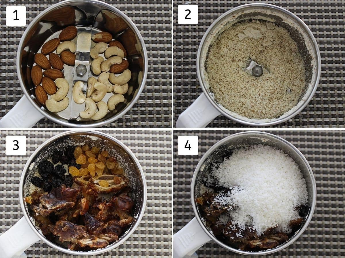 Collage of 4 pics. Showing almonds, cashews in a ginder, powdered, added dates, raisins and coconut.